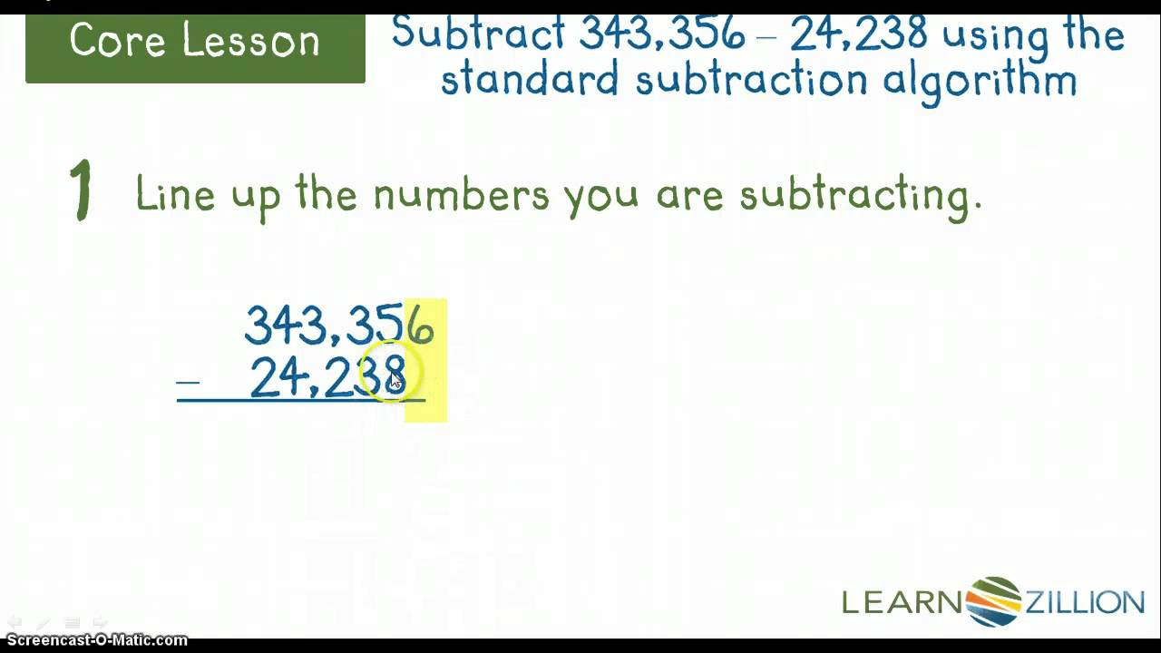 Subtracting Using the Standard Sub. Algorithm (M.4.NBT.4.E) - YouTube