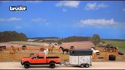 Bruder Toys RAM 2500 Pick Up Truck w/ Horse Trailer & Horse - #02501