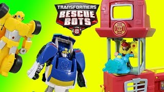 Transformers Rescue Bots Griffin Rock Firehouse Headquarters & Bumblebee Chase Heatwave!