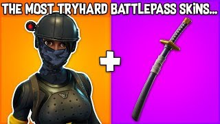5 MOST TRYHARD BATTLEPASS SKINS in Fortnite! (most tryhard skins)