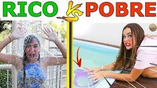 RICO VS POBRE FAZENDO AMOEBA / SLIME - MELHORES MOMENTOS E TRETAS
