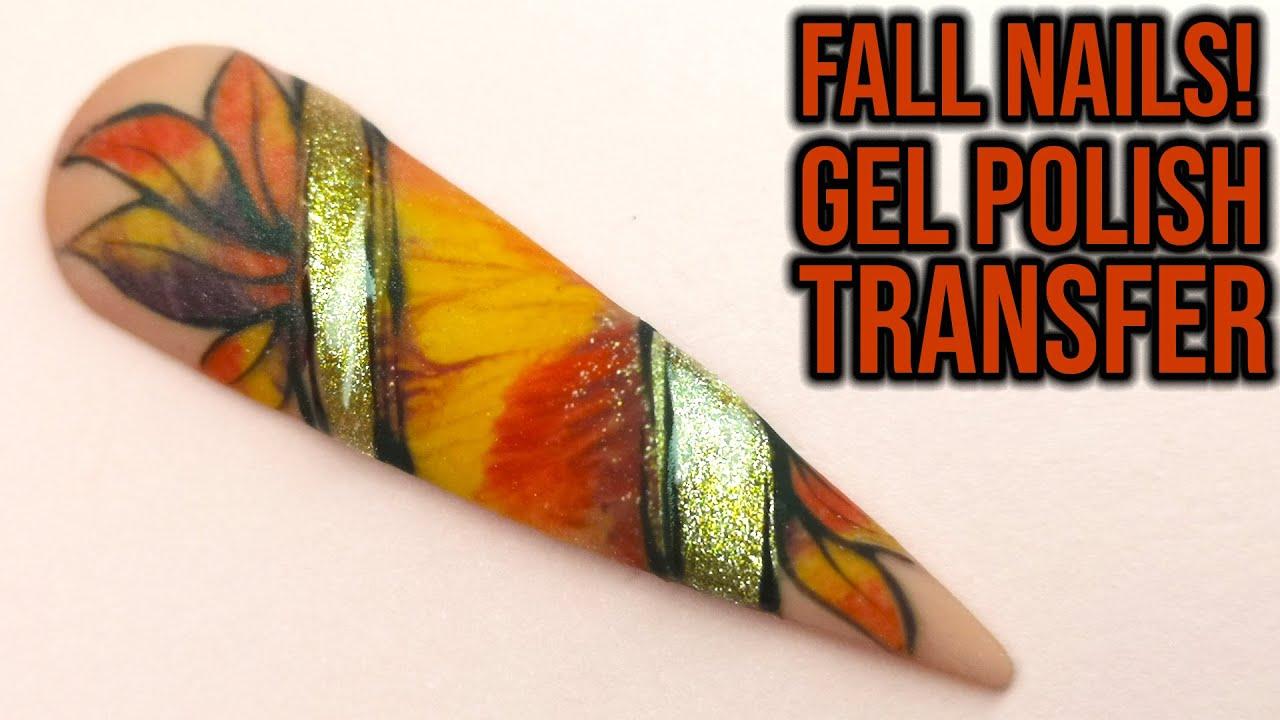Fall Leaf Design | Gel Polish Transfer
