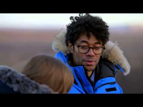 Travel Man EP3 Iceland - Richard Ayoade & Jessica Hynes with a geyser