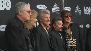 Bon Jovi Performs On Stage At Rock & Roll Hall Of Fame Induction