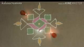 Kolam with dots#deepam kolam#dotted Diya rangoli #dotted muggulu