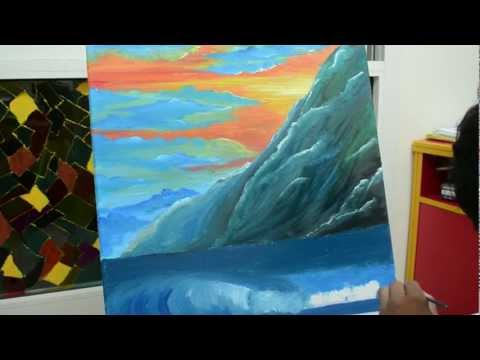 How to paint a beautiful sunset scenery with Oil paints | Part 3