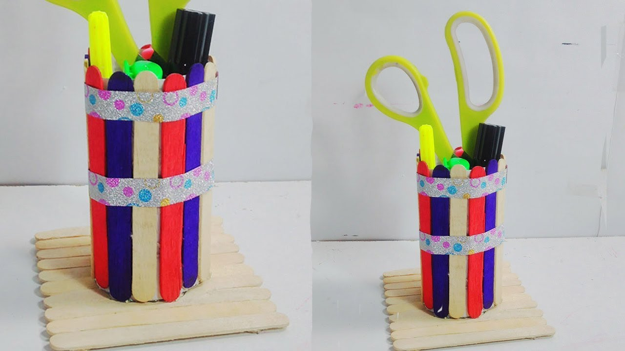 How to Make Pen Holder With Ice cream Sticks | Pencil Stand - Very Easy