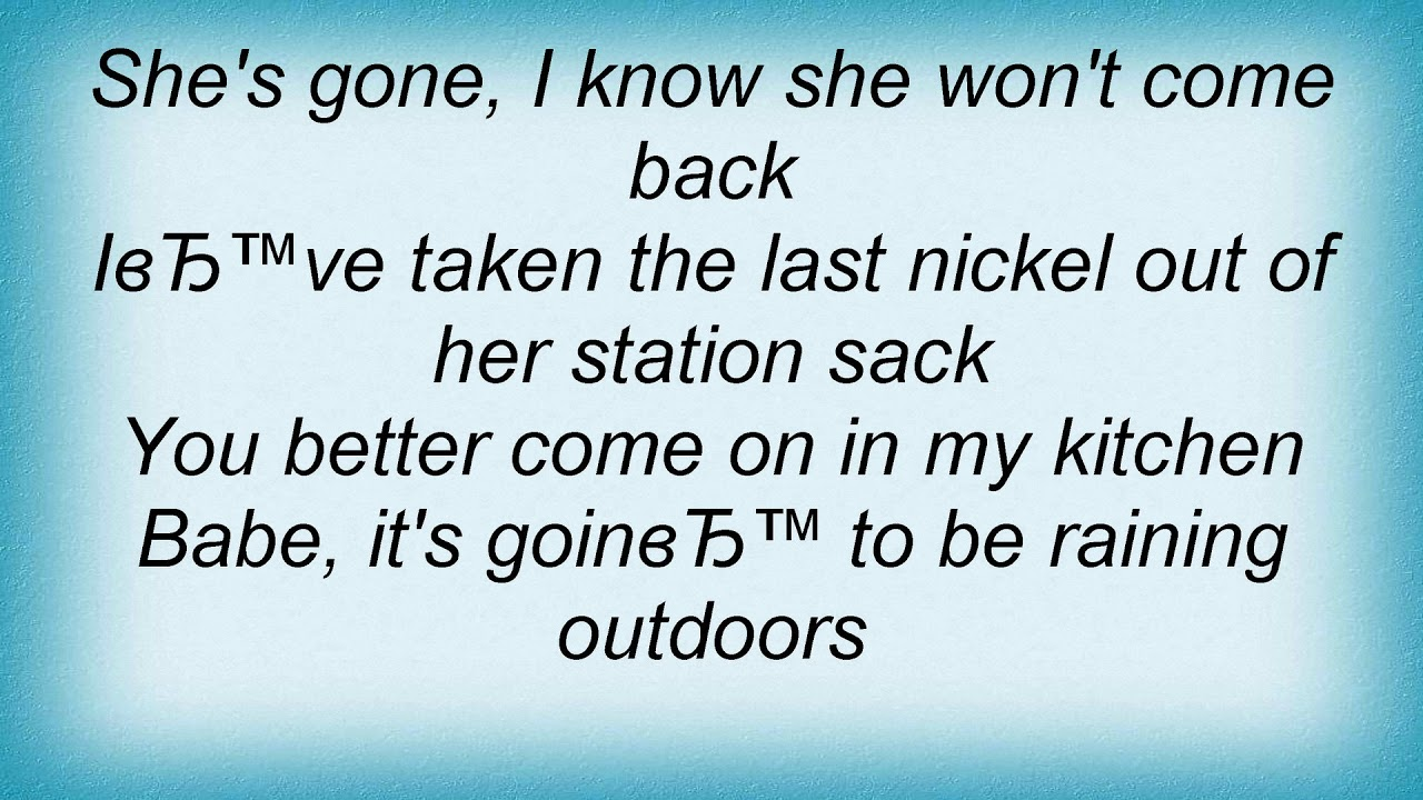 Simply Red - Come On In My Kitchen Lyrics - YouTube