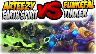 Funkefal Tinker Meets Arteezy Earth Spirit. Full Gameplay From Twitch Stream With Voice+Cam.