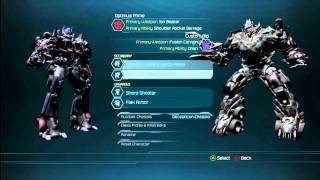 Transformers Dark of the Moon - Multiplayer Custom Character Options