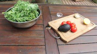 Easy Vegan Kale Salad With Roasted Garlic Dressing 素沙拉
