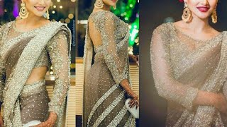 beautiful party wear designer saree collection/new saree style for indian wedding season