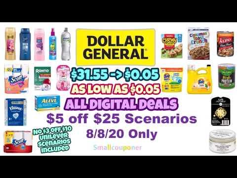 Dollar General $5 Off $25 Scenarios! All Digital Deals! As Low As $0.05!