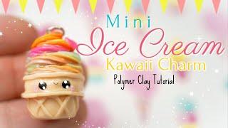 Mini Rainbow Ice Cream Kawaii Charm Polymer Clay Tutorial