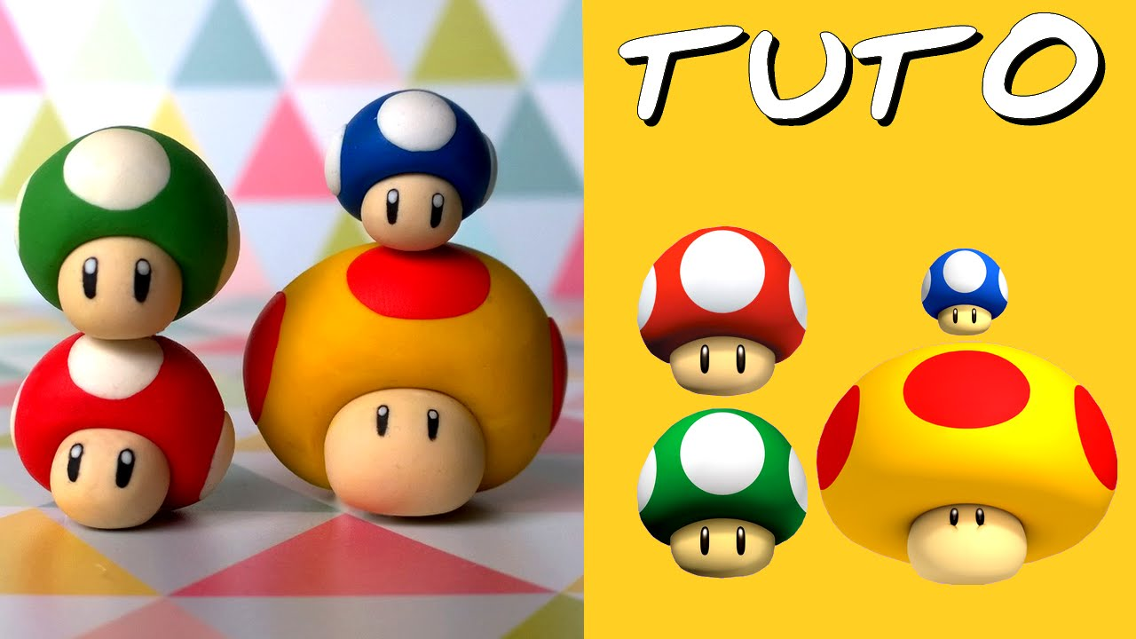 tuto fimo les 4 champi de mario 4 tutoriels en 1 youtube. Black Bedroom Furniture Sets. Home Design Ideas