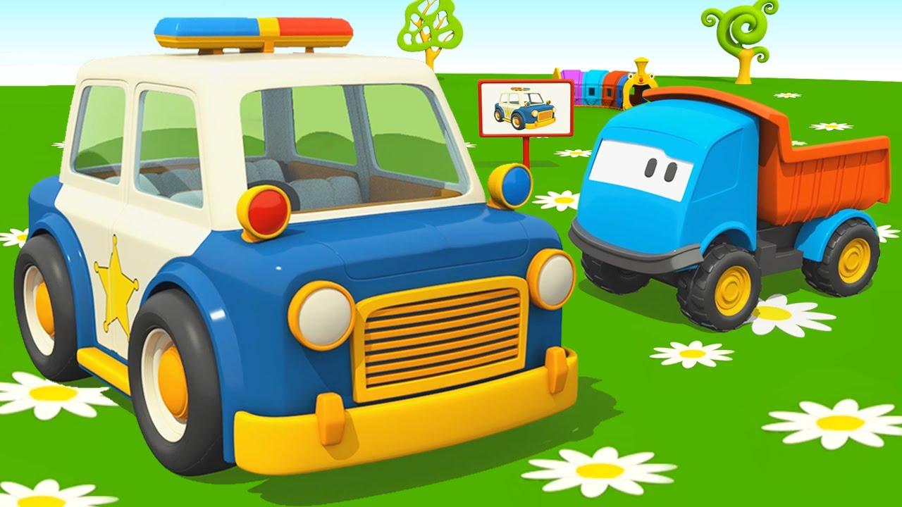 Leo il camion curioso e la macchina della polizia u cartoni