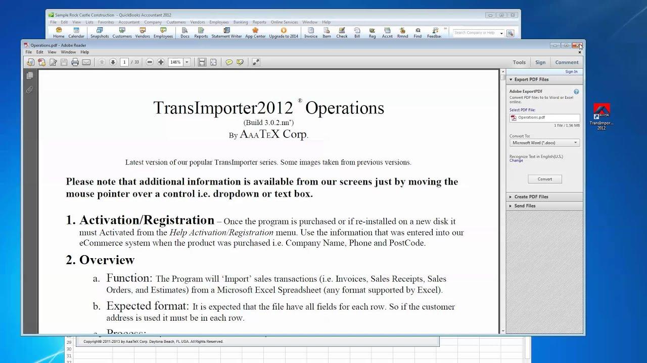 Excel QuickBooks Importer for Transactions into QuickBooks