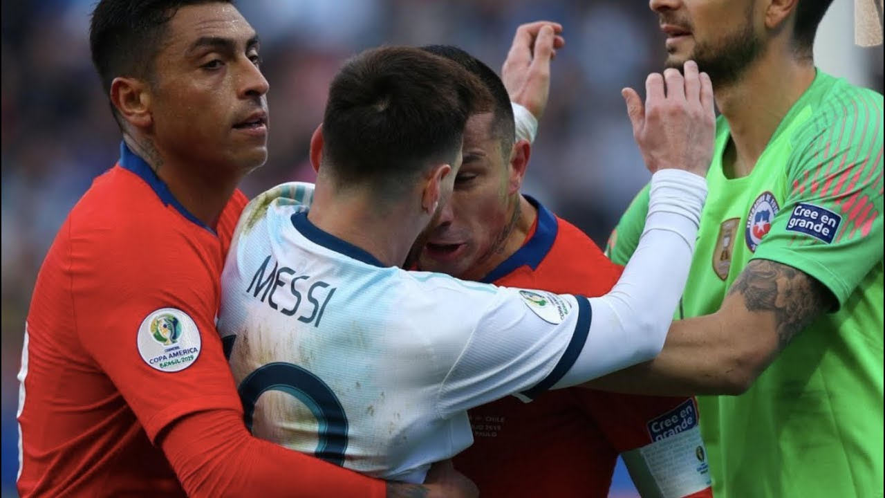 Lionel Messi S Scandalous Red Card After Gary Medel S Headbutt At Copa America 2019 Youtube