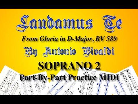 Vivaldi - LAUDAMUS TE - Soprano 2 MIDI Video (From Gloria In D-Major, RV 589)