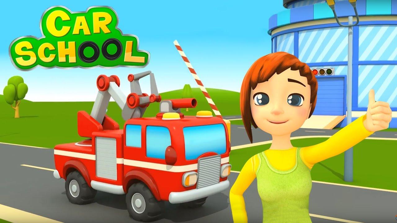 Car school a scuola con i camion cartoni animati per