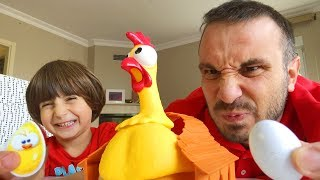 Father And Son PLAY SQUAWK Chicken EGG Family Games