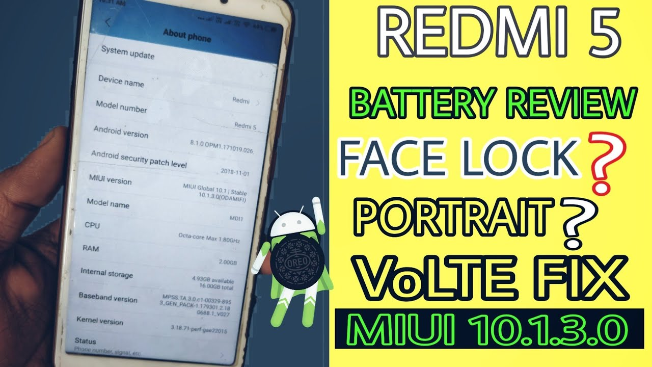 Redmi 5 MIUI 10 1 3 0 Review, Battery Performance , VoLTE Fix by Only Talk