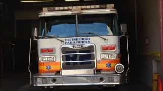WALK AROUND OF PITTSBURGH EMS RESCUE 2 TRUCK IN STATION ON BLVD OF THE ALLIES IN PITTSBURGH, PA.