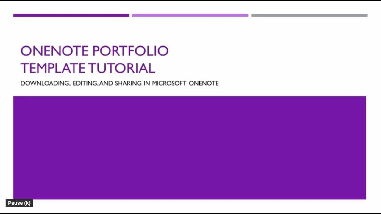 OneNote Portfolio Template Tutorial