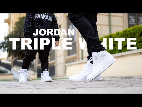 Jordan 1 Triple White | Father and Son | On Foot