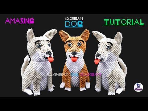 3D Origami Dog Tutorial 1/32 Ultra HD - Origami 3d Cane Tutorial 1/32 Ultra HD