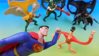 DC JUSTICE LEAGUE ACTION SET OF 8 McDONALDS 2016 HAPPY MEAL TOYS VIDEO REVIEW