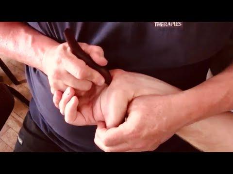 Hand massage. Deep hand & arm massage using tools. Reflexology. Brandon working on Terry's arm pt 3