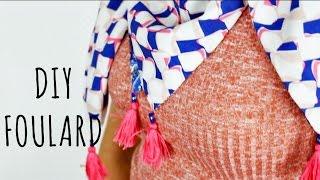 Tuto couture facile pour coudre un foulard/chèche double face. Tissu : Viscose de chez Mondial Tissus https://goo.gl/V3nsro Pompon : Fil de broderie DMC ...