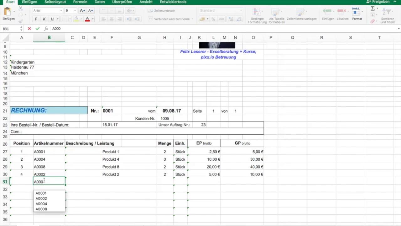 Rechnungen Verwalten Mit Excel Youtube
