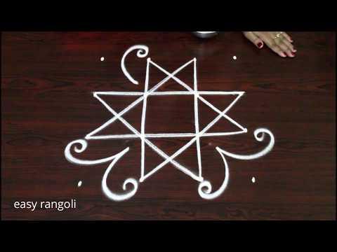 easy & simple rangoli designs with 4 dots * latest beginners evening kolam * daily routine muggulu