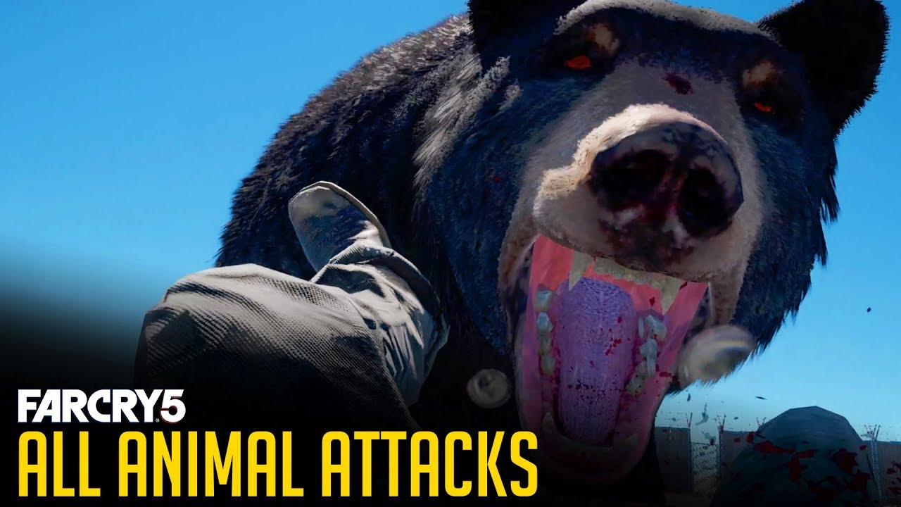 Far Cry 5 - All ANIMAL ATTACK Animations [1080p 60FPS] Bear, Cougar, Wolverine, Eagle Attacks