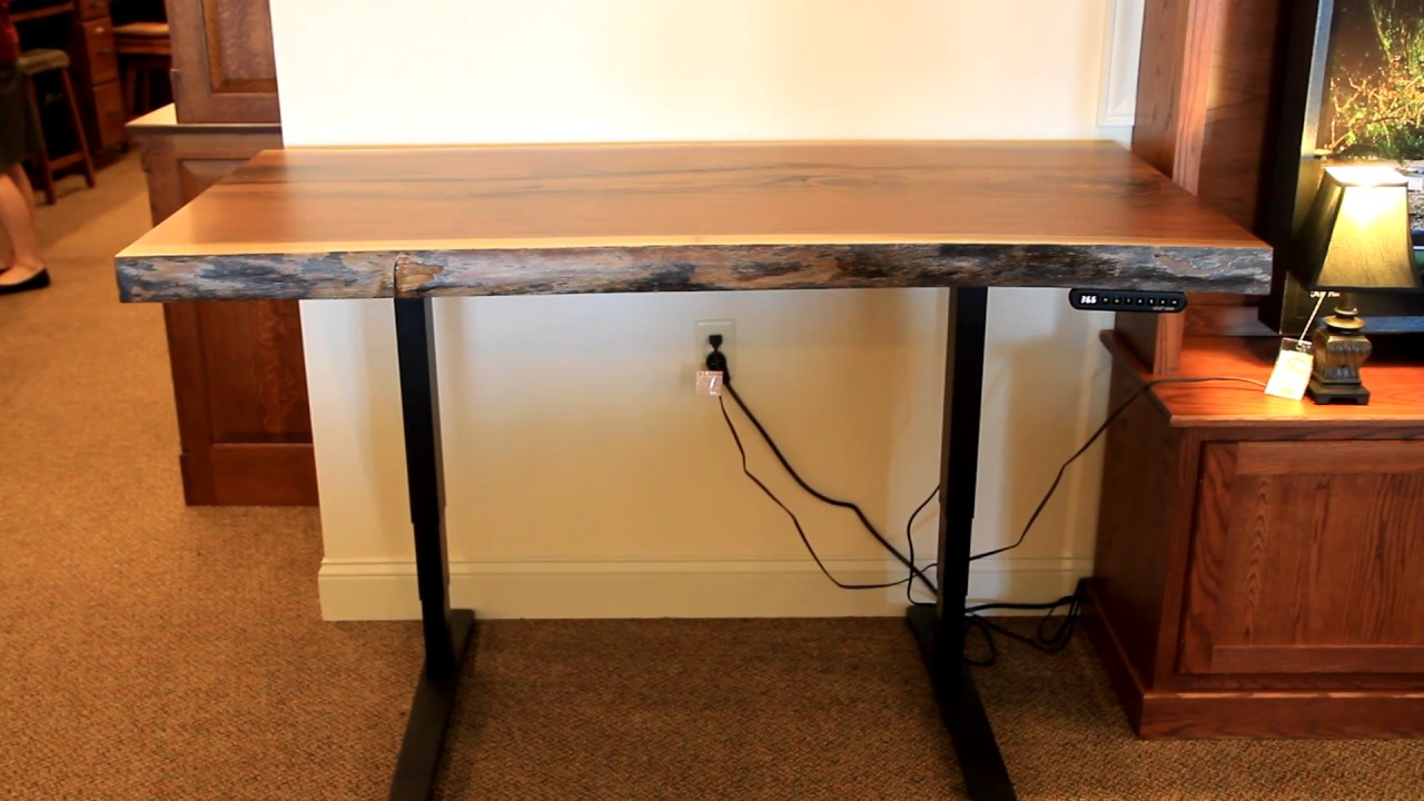 Walnut Live Edge Adjustable Height Standing Desk   Country Lane Furniture