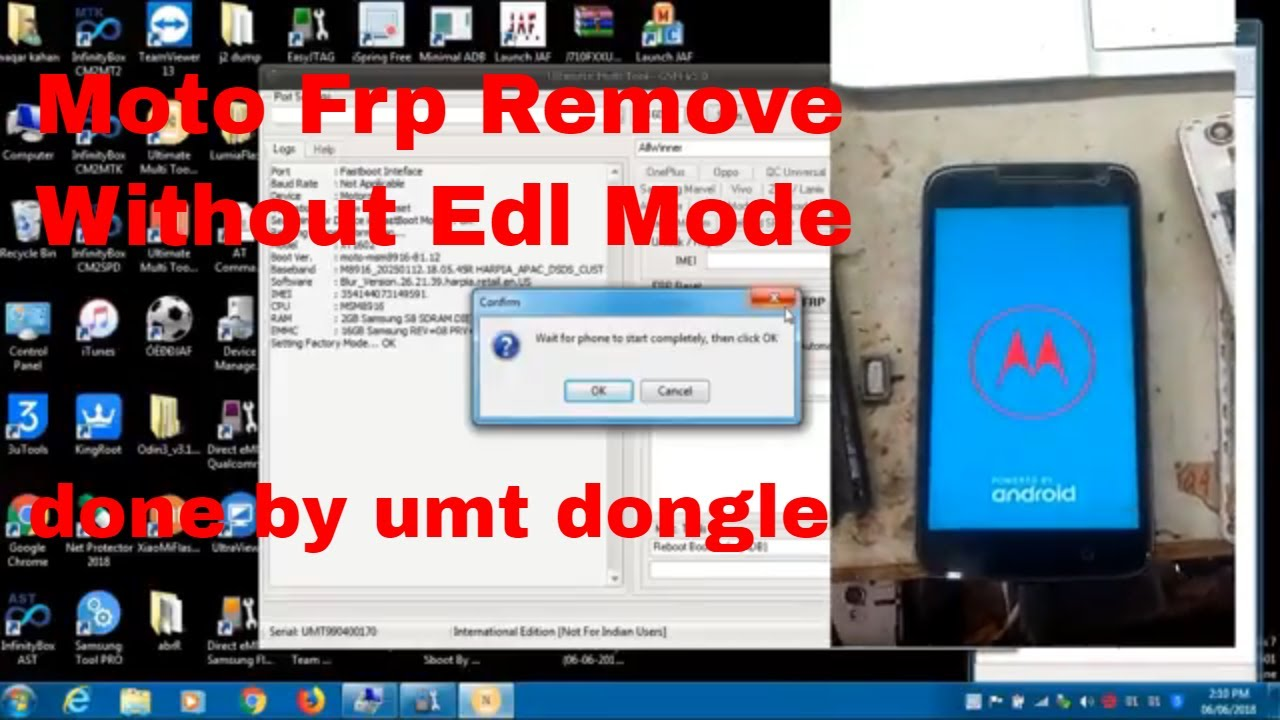 Moto All Qualcomm Cpu Frp Remove Without Edl Mode by umt dongle