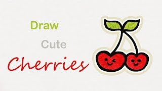 How to draw cute Cherries | Step by step art for kids