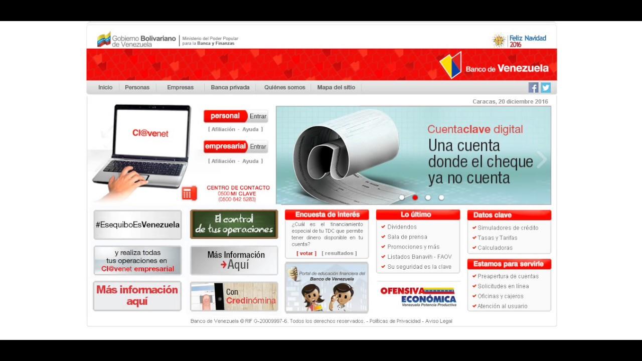 Recargar servicios desde clavenet personal youtube Banco venezuela clavenet