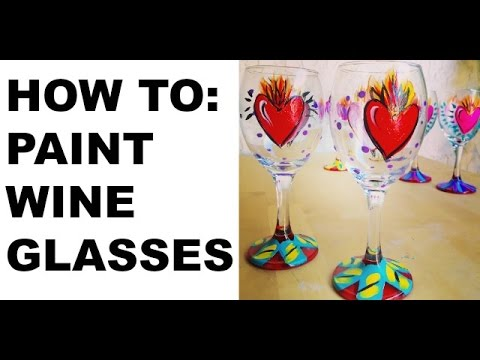 Painted wine glasses tutorial youtube for How do i paint glass