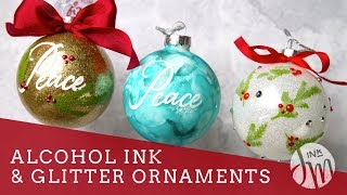 Alcohol Ink & Glitter Ornaments