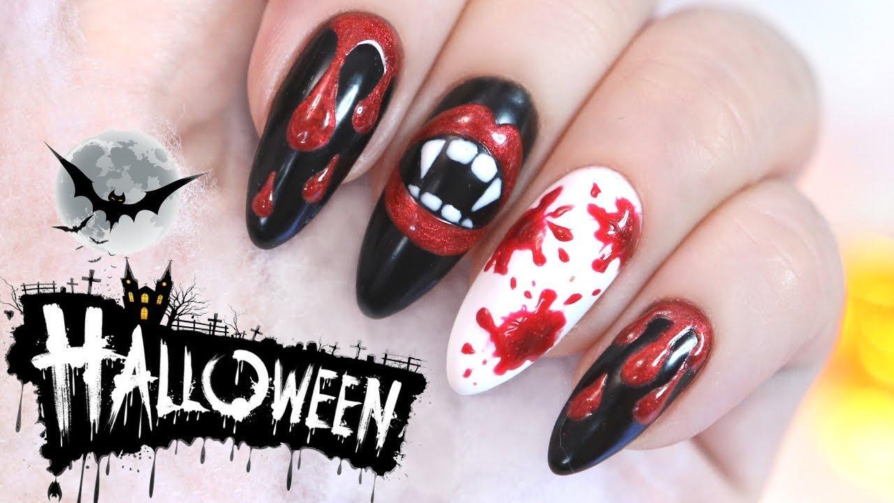 Hybrydy Na Halloween Kew I Kly Wampira Blood Nails Paznokci