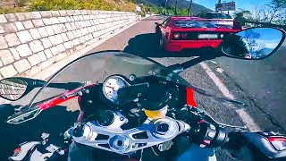 Ferrari F40 vs MaxWrist BMW S1000RR - Mountain Road Street Race Supercar vs Superbike