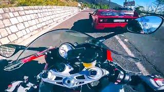 Ferrari F40 vs BMW S1000RR  EPIC STREET RACING