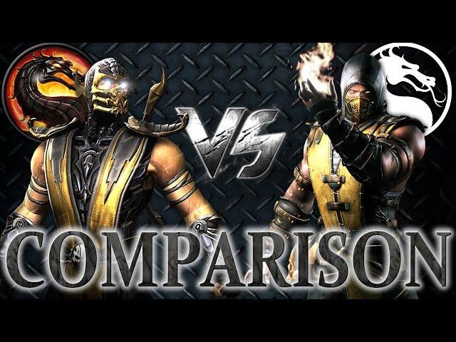 mortal kombat x vs mk9 scorpion comparison face to face intro