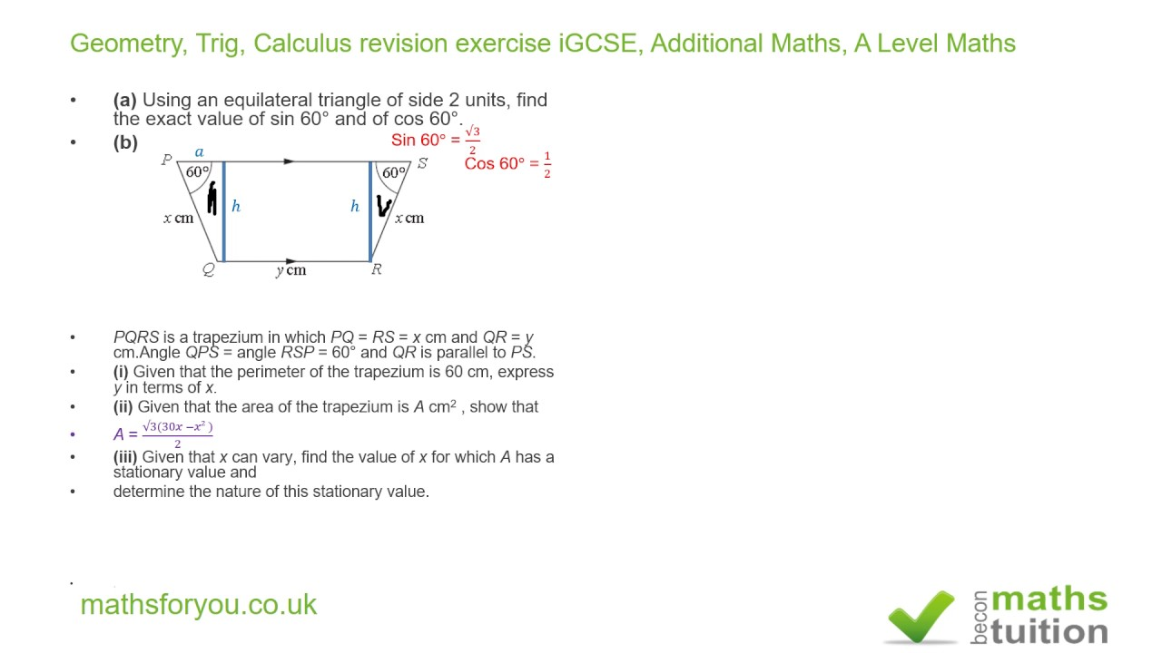 Trapezium Geometry, Trig, Calculus Revision Exercise Igcse, Additional  Maths, A Level Maths