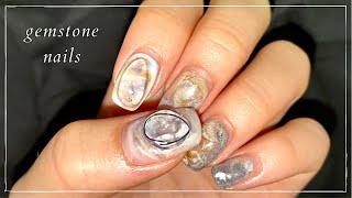 원석 네일. gemstone nails. 네일 와이어는…