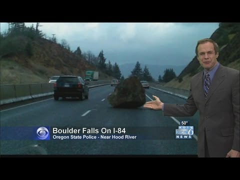Boulder the size of a car falls on I-84