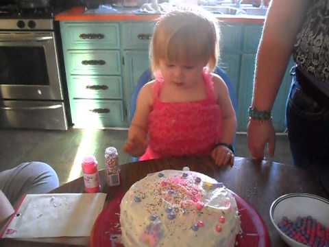 3 Year Old Decorating Her Birthday Cake